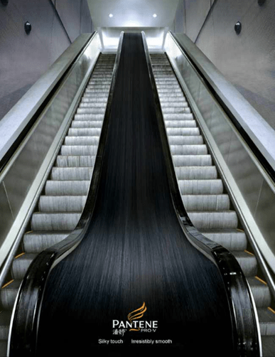 Pantene Silky touch escalator handrail